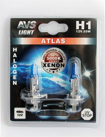 Лампа автомобильная галогенная AVS Atlas H1 12V 55W 2шт. - фото 23891