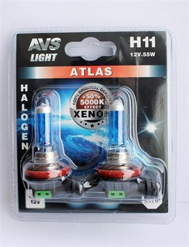 Лампа автомобильная галогенная AVS Atlas H11 12V 55W 2шт. - фото 23894
