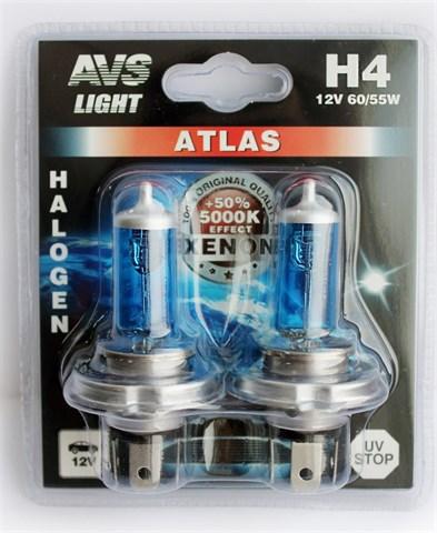 Лампа автомобильная галогенная AVS Atlas H4 12V 60/55W 2шт. - фото 23903