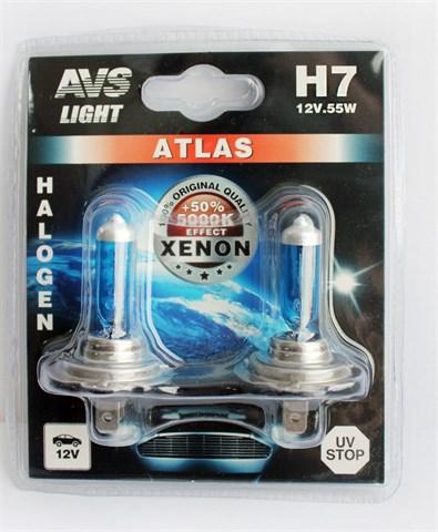 Лампа автомобильная галогенная AVS Atlas H7 12V 55W 2шт. - фото 23905