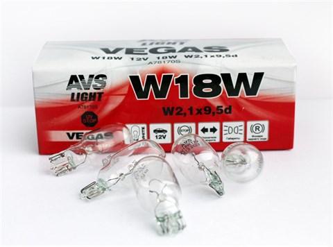 Автолампа габаритов и стоп сигналов AVS Vegas W18W 12V 18W 10шт. - фото 23953
