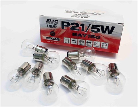Автолампа габаритов и стоп сигналов AVS Vegas P21/5W 12V 5W 10шт. - фото 23980