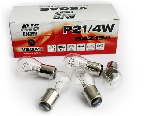Автолампа габаритов и стоп сигналов AVS Vegas P21/4W 24V 4W 10шт. - фото 24010