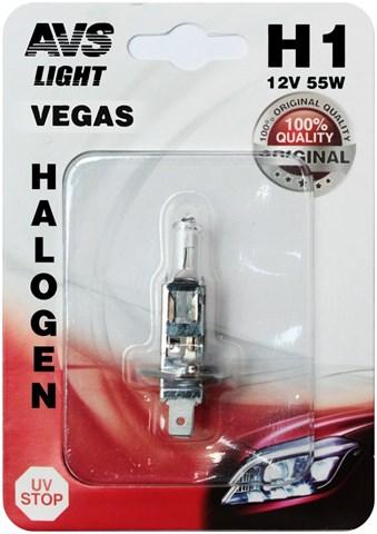 Автолампа галогенная AVS Vegas H1 12V 55W в блистере 1шт. - фото 24048