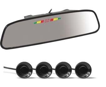 Парктроник PS-164U (4 датчика+коннекторы, Зеркало + LED Дисплей цветной) - фото 24744