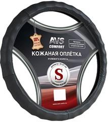 Оплетка на руль (нат. кожа) AVS GL-165S-B (размер S, черная)